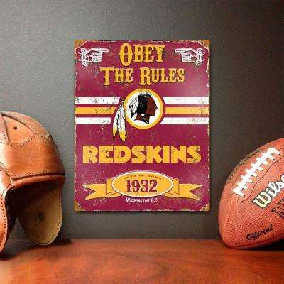 14.5 in. H x 11.5 in. D Heavy Duty Steel Washington Redskins Embossed Metal Sign Wall Art
