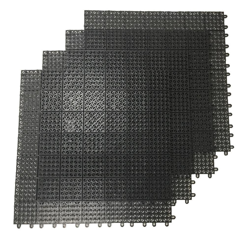 Black Regenerated 22 in. x 22 in. Polypropylene Interlocking Floor Mat System (Set of 4 Tiles)