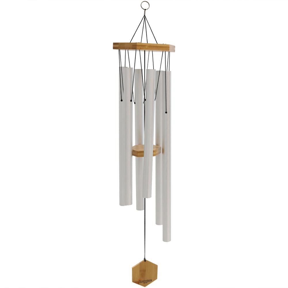 Sunnydaze Decor 33 in  Silver Hand-Tuned Bamboo and Aluminum Hexagon Wind  Chime