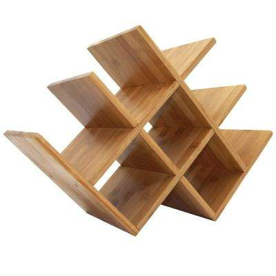 8-Wine Bottles Symmetrical Bamboo Wood Brown Counter Top Wine Rack