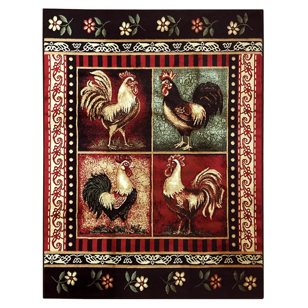 DonnieAnn Lodge Design Rooster Black 7 Ft. 6.5 In. X 10 Ft