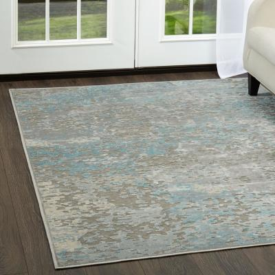 Infinity Dark Gray/Blue 9 ft. x 12 ft. Indoor Area Rug