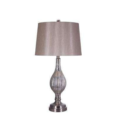30 in. Brushed Steel Glass and Metal Table Lamp