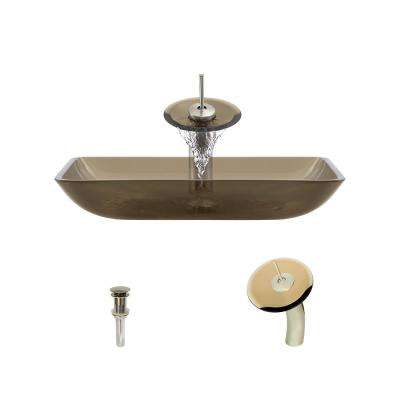 Glass Vessel Sink in Taupe with Waterfall Faucet and Pop-Up Drain in Brushed Nickel