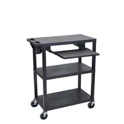 32 in. Presentation Cart with Pull Out Shelf in Black