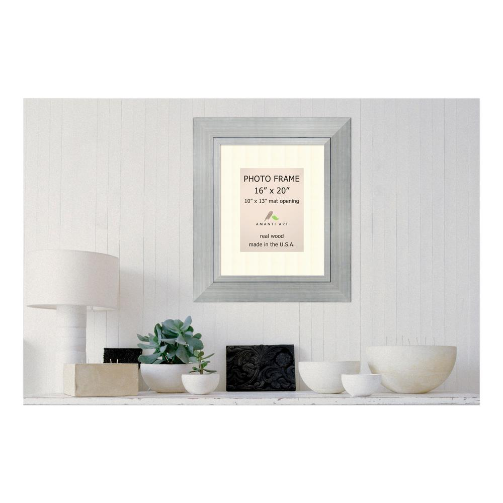 Amanti Art Romano 10 in. x 13 in. White Matted Silver Picture Frame ...
