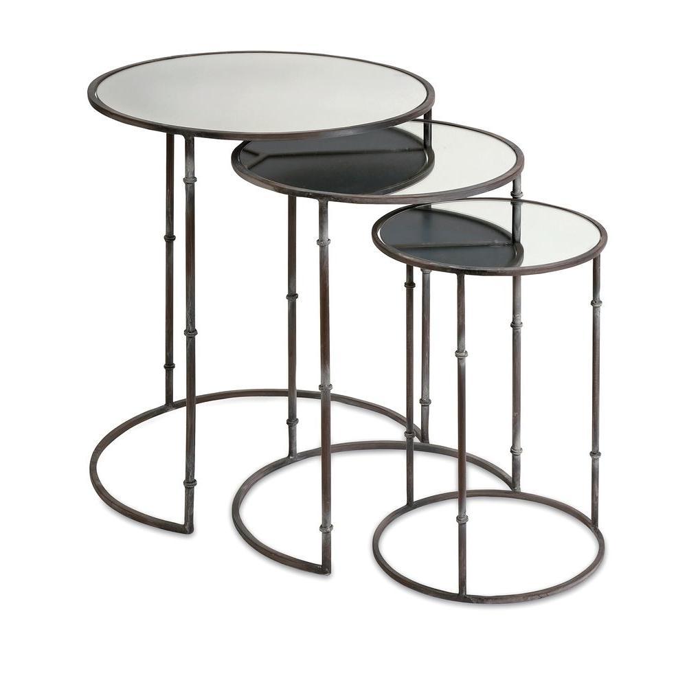 Lenor Black 3-Piece Nesting End Table