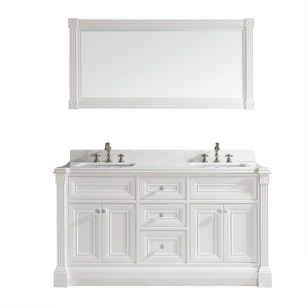 Studio Bathe Avenue 63 in. W x 23 in. D Vanity in White with Engineered Solid Surface Vanity Top in White with White Basin and Mirror