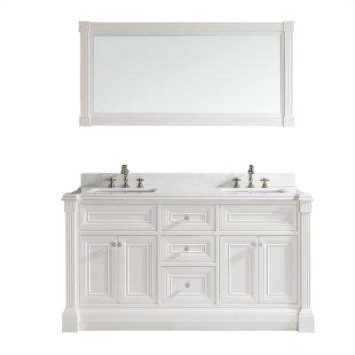 Avenue 63 in. W x 23 in. D Vanity in White with Engineered Solid Surface Vanity Top in White with White Basin and Mirror