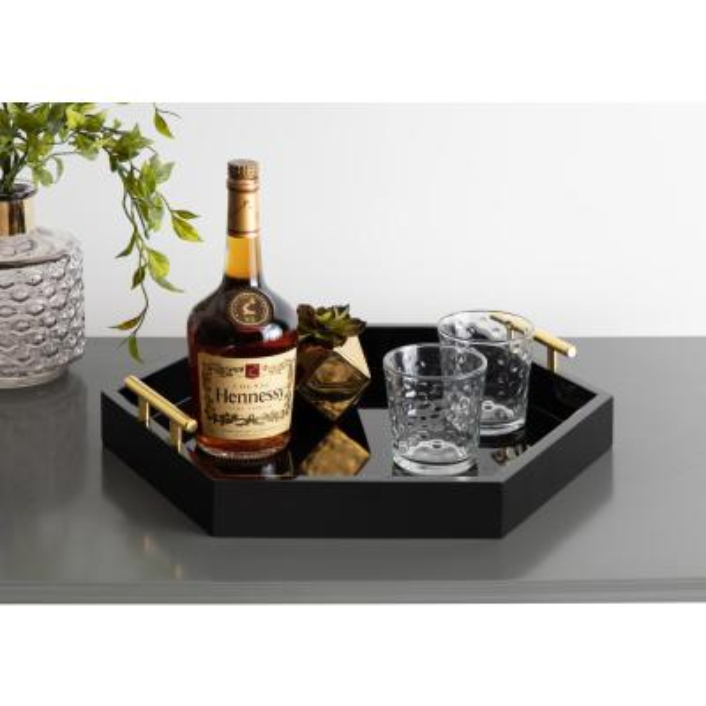Lipton 18 in.x 18 in. Black/Gold Hexagon Decorative Tray