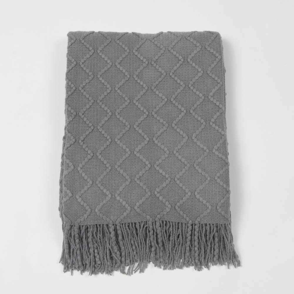 c08fdd5c Best Home Fashion Textured Diamond Grey Acrylic Throw THROW_WD18403 ...