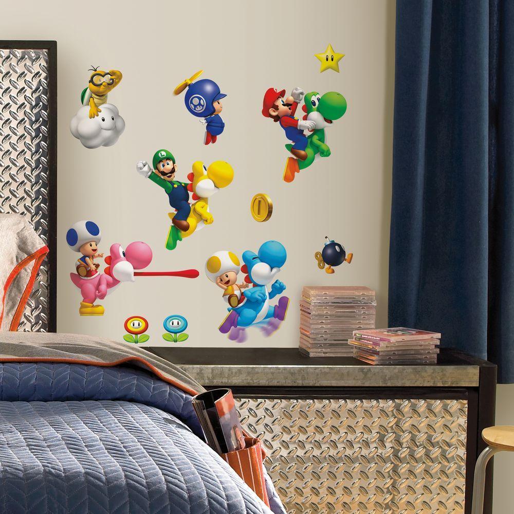 Nintendo - Super Mario Bros. Wii Peel and Stick 35-Piece Wall Decals