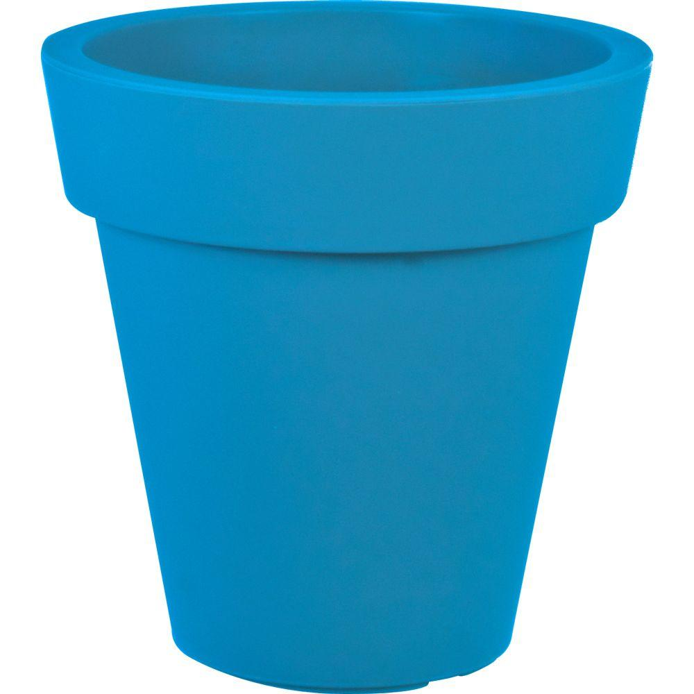 Mela 20 in. Dia Round Blue Plastic Planter-83436 - The Home Depot