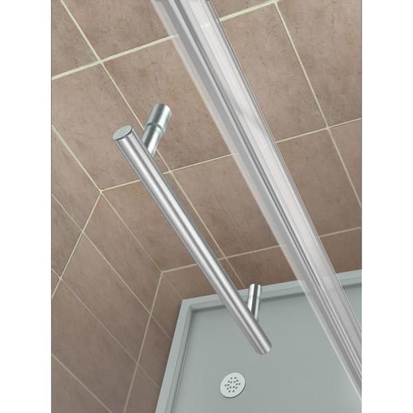 Aston Bromley Gs 59 25 To 60 25 X 36 375 X 72 Frameless Corner Hinged Shower Enclosure With Glass Shelves In Stainless Steel Sen962ez Ss 602636 10 The Home Depot
