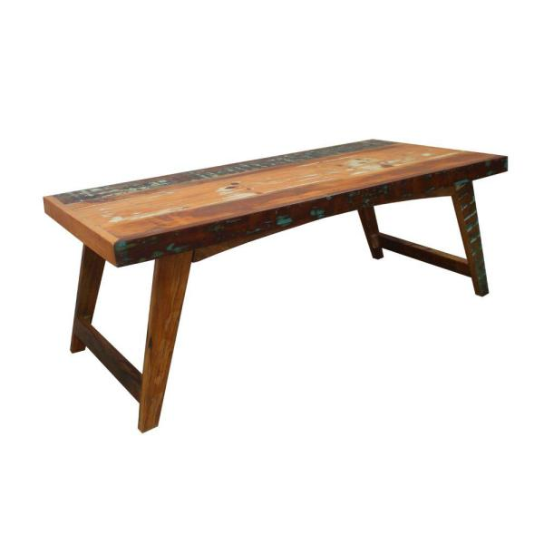 17.72 in. H Distressed Brown Rectangular Handcrafted Wooden Coffee Table with Slanted Tapered Legs