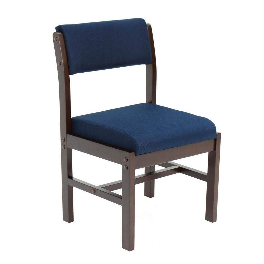 Belcino Mocha Walnut and Blue Leg Base Side Chair