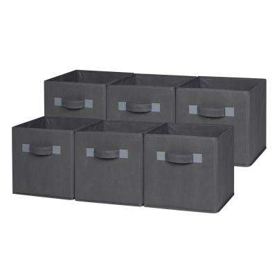 10.5 in. x 11 in. Gray Foldable Cloth Storage Cube (6-Pack)