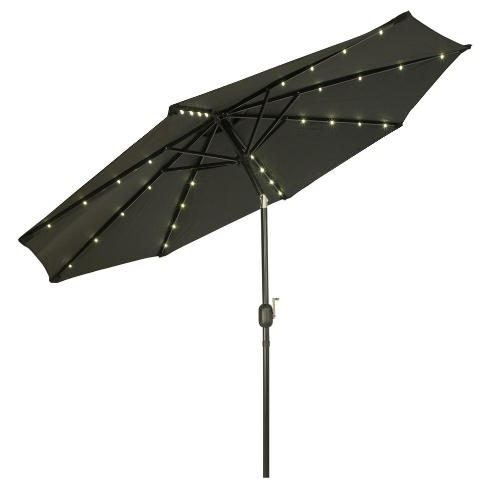 Exceptionnel Deluxe Solar Powered LED Lighted Patio Umbrella In Black
