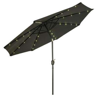 9 ft. Deluxe Solar Powered LED Lighted Patio Umbrella in Black