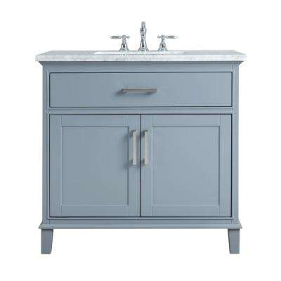 36 in. Leigh Single Sink Bathroom Vanity in Grey with Carrara Marble Vanity Top in White with White Basin