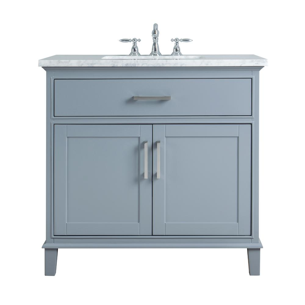Stufurhome 36 In Leigh Single Sink Bathroom Vanity Grey With Carrara Marble Top