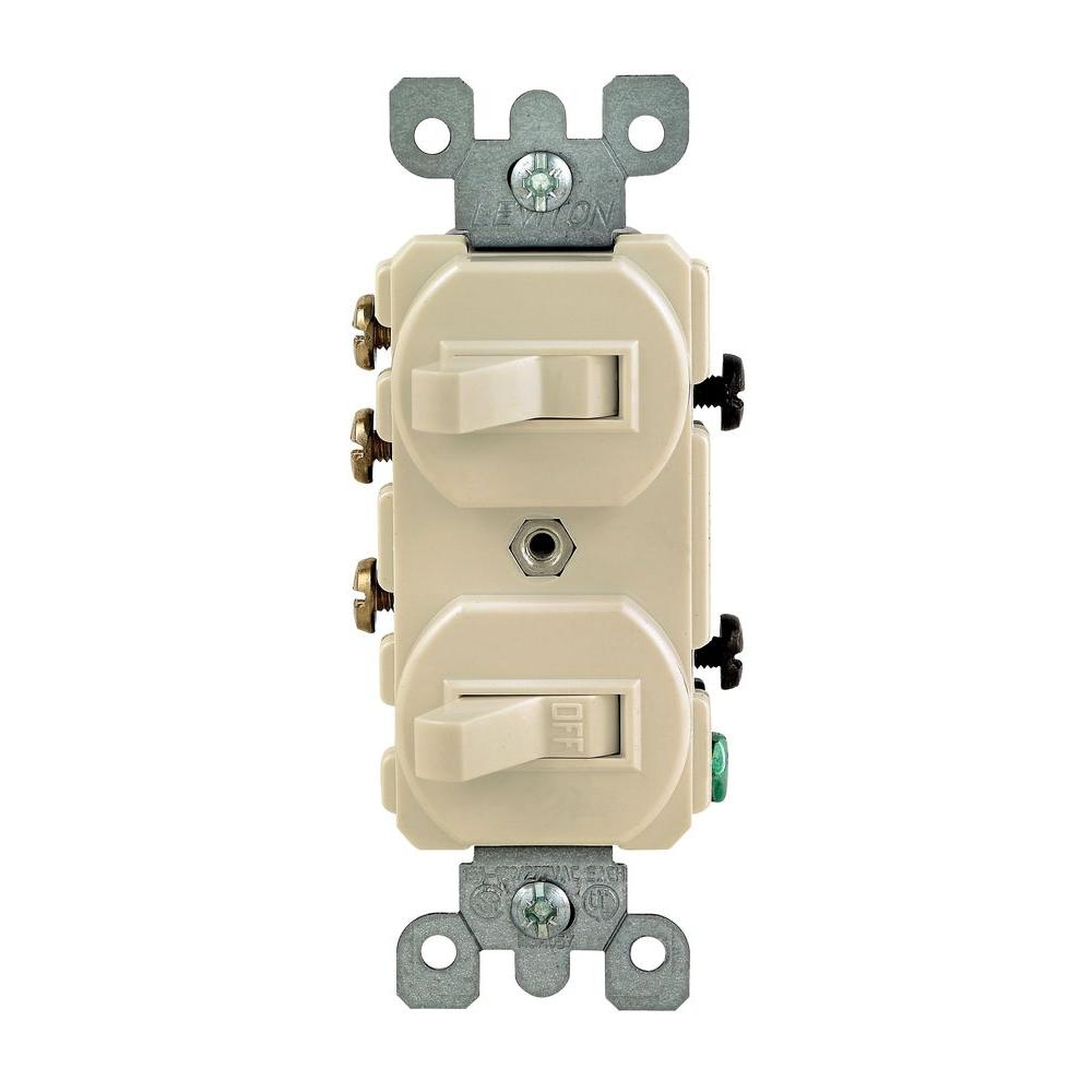Leviton 15 Amp 3-Way Double Toggle Switch, Ivory