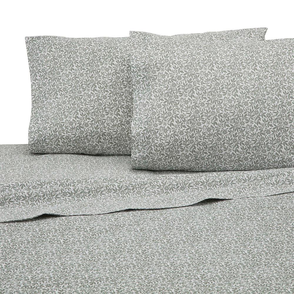 225 Thread Count Sage Cotton Queen Sheet Set