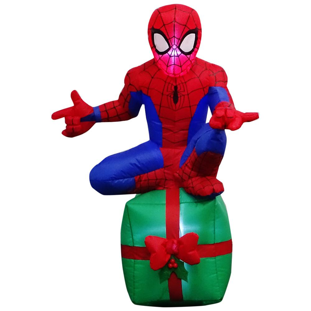 3.51 ft. Pre-lit Inflatable MSM Spider-Man Sitting on Green Present Airblown