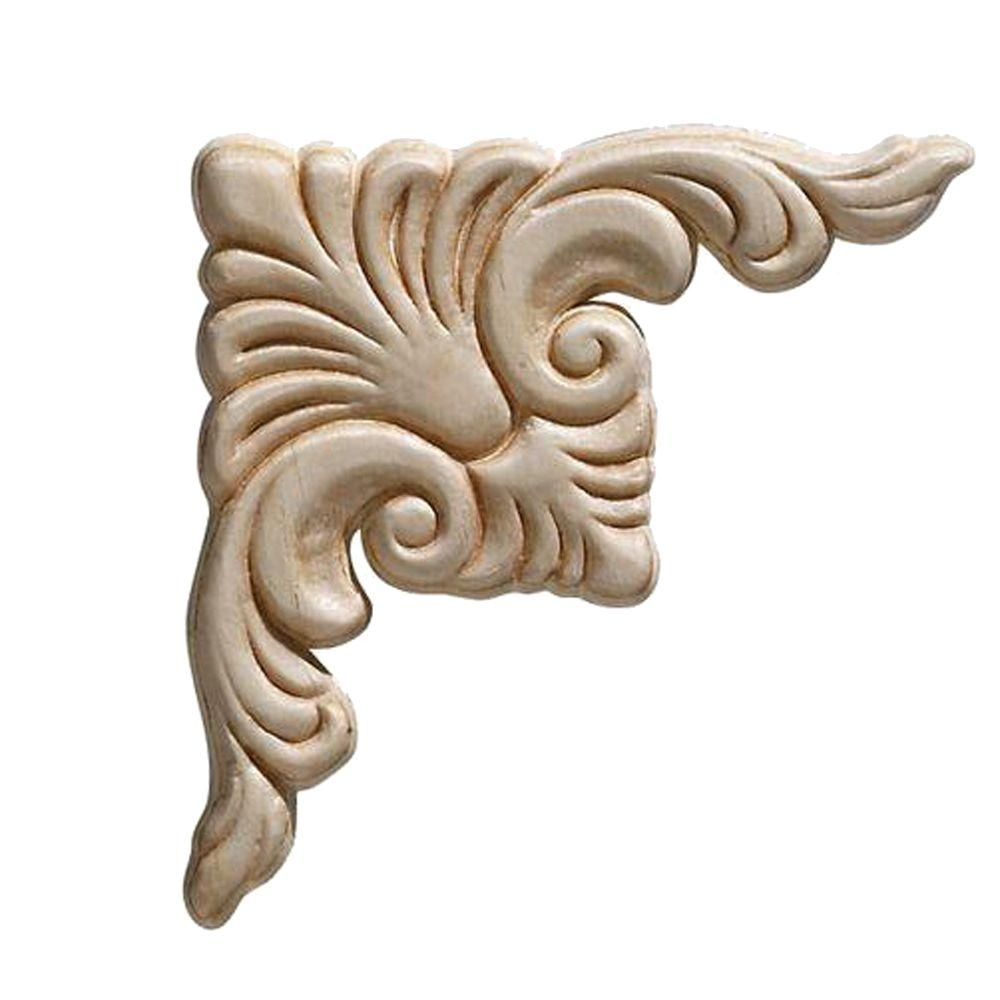 Ornamental Mouldings 3319pk 7 32 In X 3 4 Birch Acanthus Corner Onlay Ornament Moulding 2 Pack 3319pkwhw The Home Depot