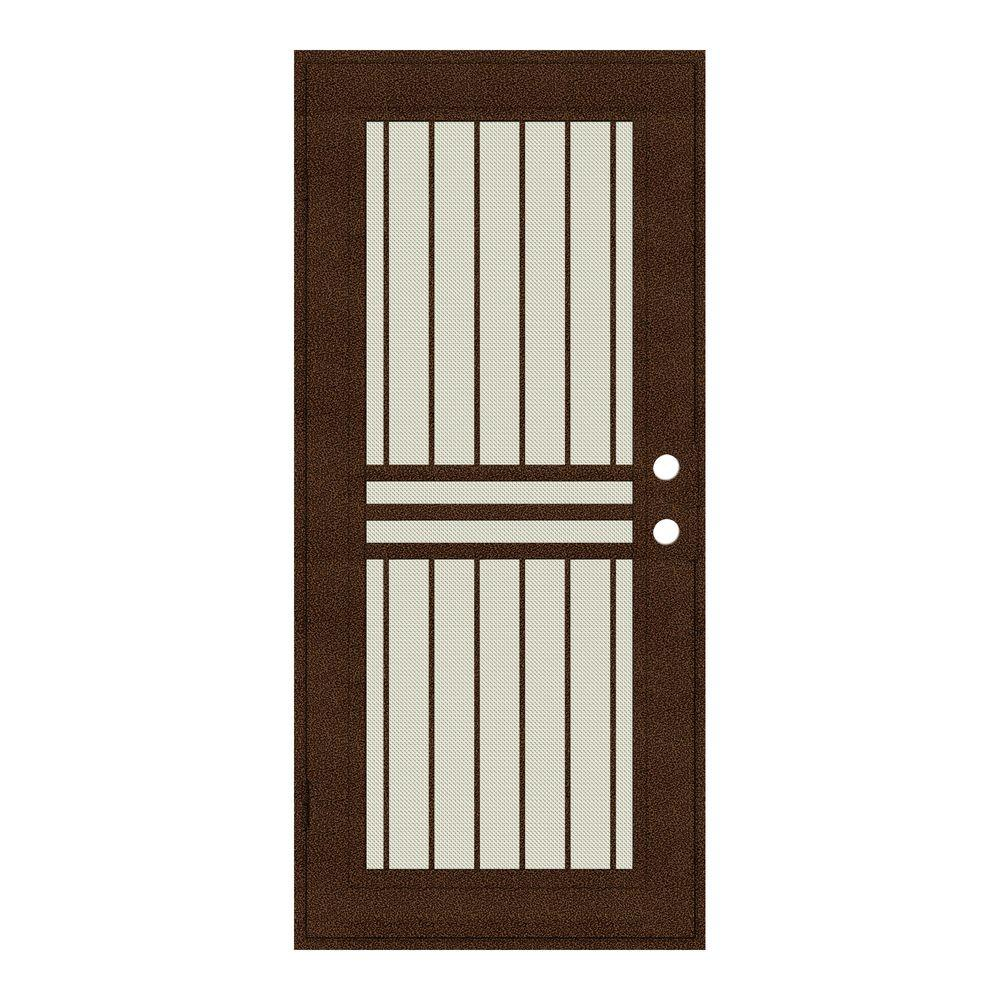 Unique Home Designs 30 in. x 80 in. Plain Bar Copperclad Left-Hand Surface Mount Aluminum Security Door with Beige Perforated Screen
