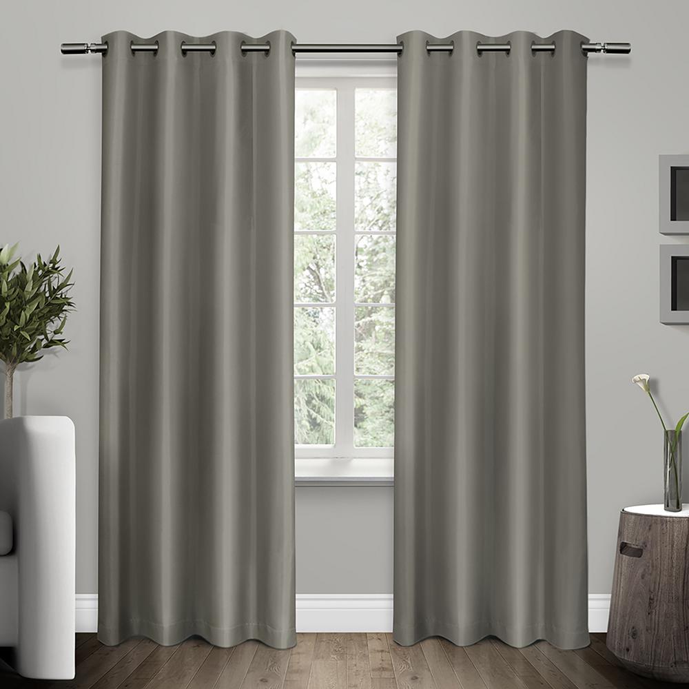 Shantung Viridian Grey Faux Silk Thermal Grommet Top Window Curtain