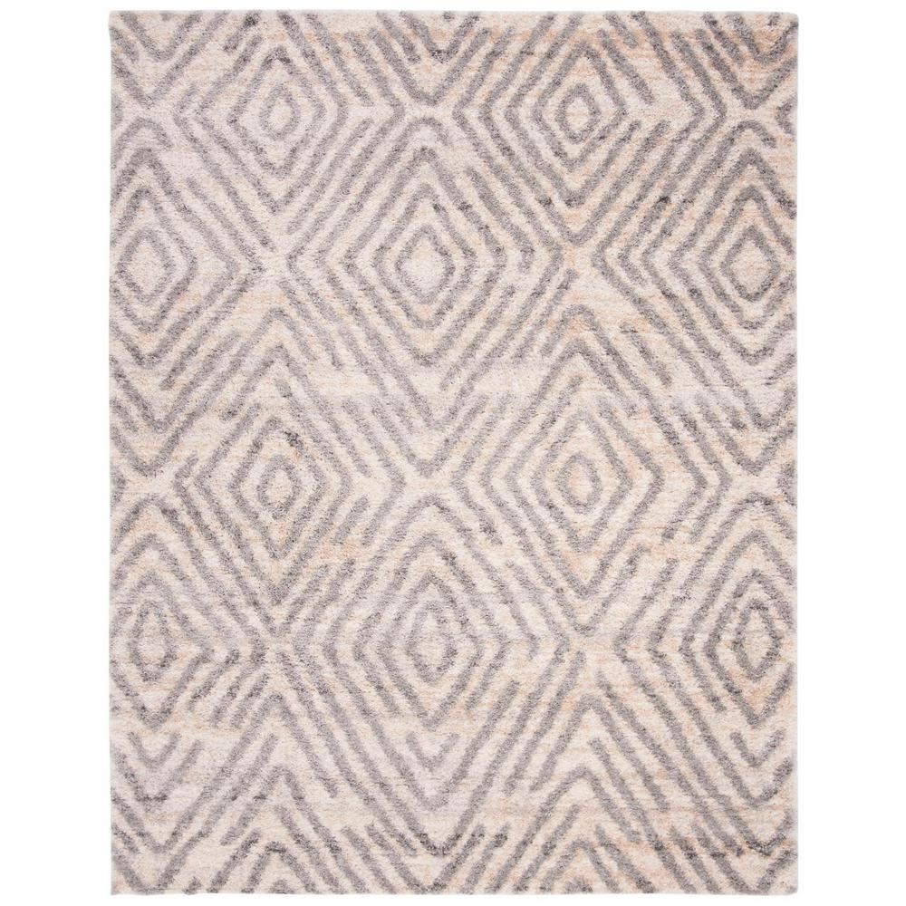 Berber Shag Cream/Gray 8 ft. x 10 ft. Area Rug