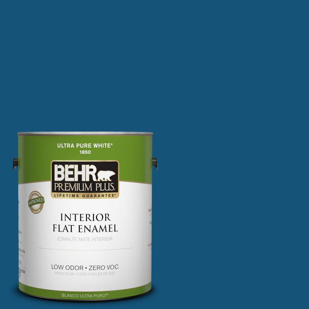 BEHR Premium Plus 1-gal. #S-H-560 Royal Breeze Zero VOC Flat Enamel Interior Paint-DISCONTINUED