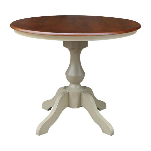 International Concepts Sophia 36 In Round Almond And Espresso Dining Table