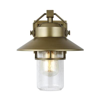 Boynton 10.75 in. 1-Light Painted Distressed Brass Outdoor Wall Lantern Sconce