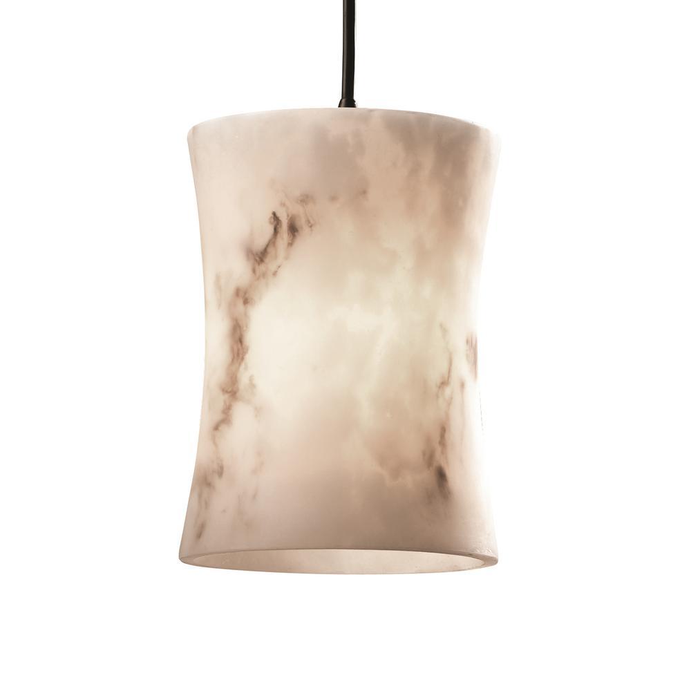 Justice Design LumenAria 1-Light Dark Bronze Pendant with Faux Alabaster Shade