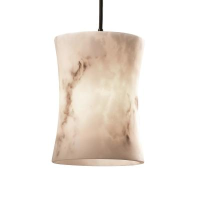 LumenAria 1-Light Dark Bronze Pendant with Faux Alabaster Shade