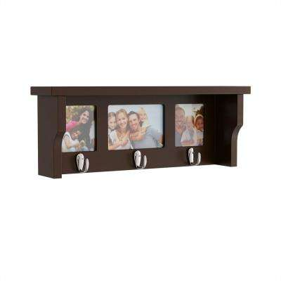 18.75 in. L x 4 in. W x 7 in. H Brown Wood Decorative Wall Shelf and Picture Collage with Hanging Hooks