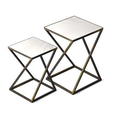 Katrine Arden Black Gold Side Table Set