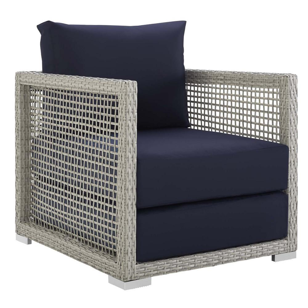 Astounding Modway Aura Gray Wicker Outdoor Lounge Chair With Navy Cushions Pabps2019 Chair Design Images Pabps2019Com