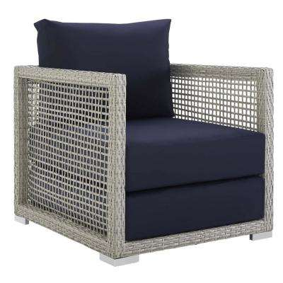 Aura Gray Wicker Outdoor Lounge Chair with Navy Cushions