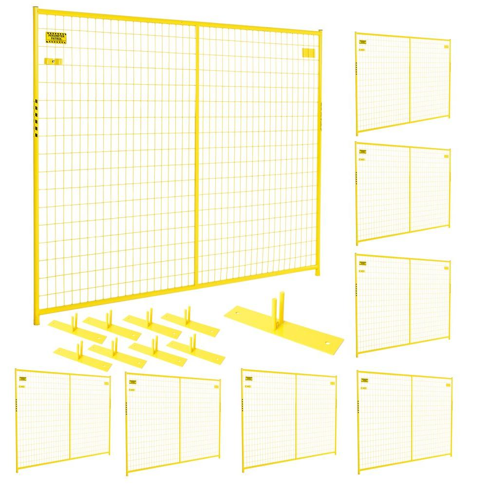 Perimeter Patrol 6 ft. x 58 ft. 8-Panel Yellow Powder-Coated Welded Wire Temporary Fencing