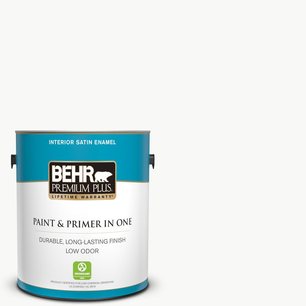 BEHR Premium Plus 1 gal. Ultra Pure White Satin Enamel Low Odor Interior Paint and Primer in One
