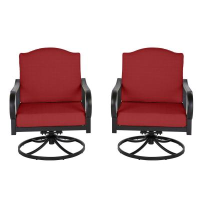 Laurel Oaks Brown Steel Outdoor Patio Lounge Chair with Cushion Guard Chili Red Cushions (2-Pack)