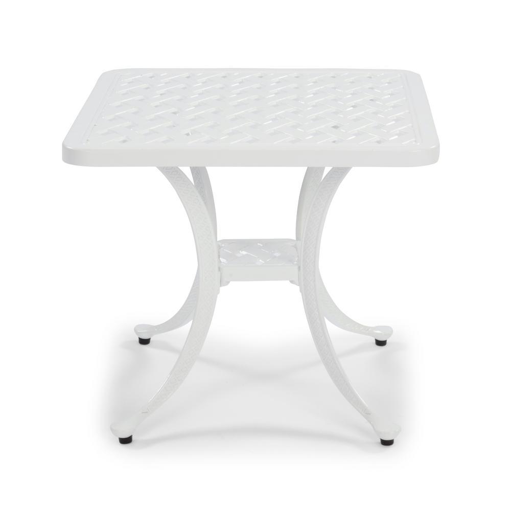 La Jolla Cast White Square Aluminum Outdoor Accent Table