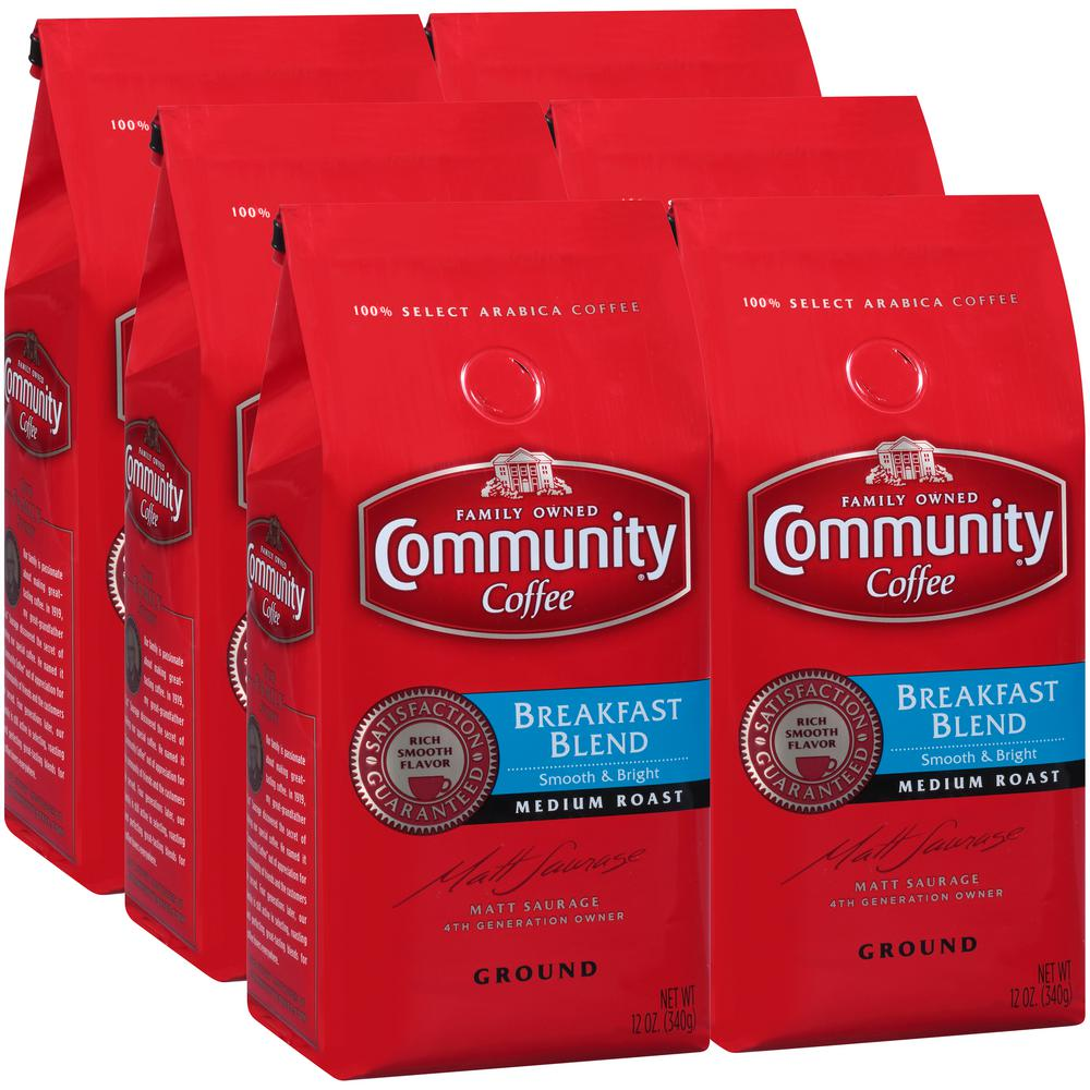 12 oz. Breakfast Blend Medium Roast Premium Ground Coffee (6-Pack)