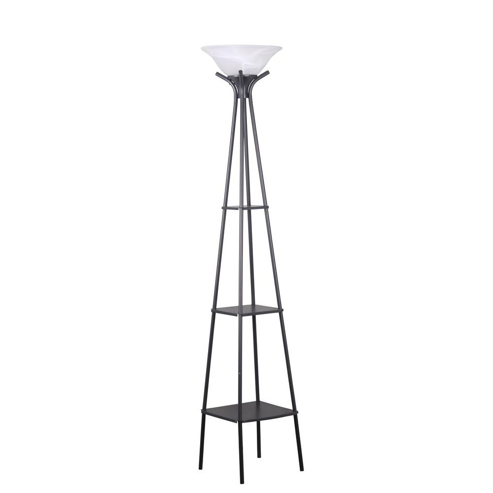 Adesso perry 69 5 8 in black shelf floor lamp 1570 01 for Floor lamp with shelves