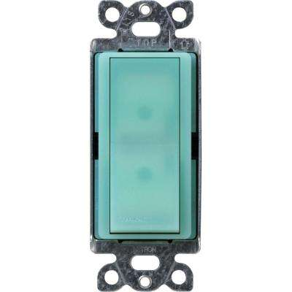 Claro 15 Amp 4-Way Rocker Switch with Locator Light, Sea Glass