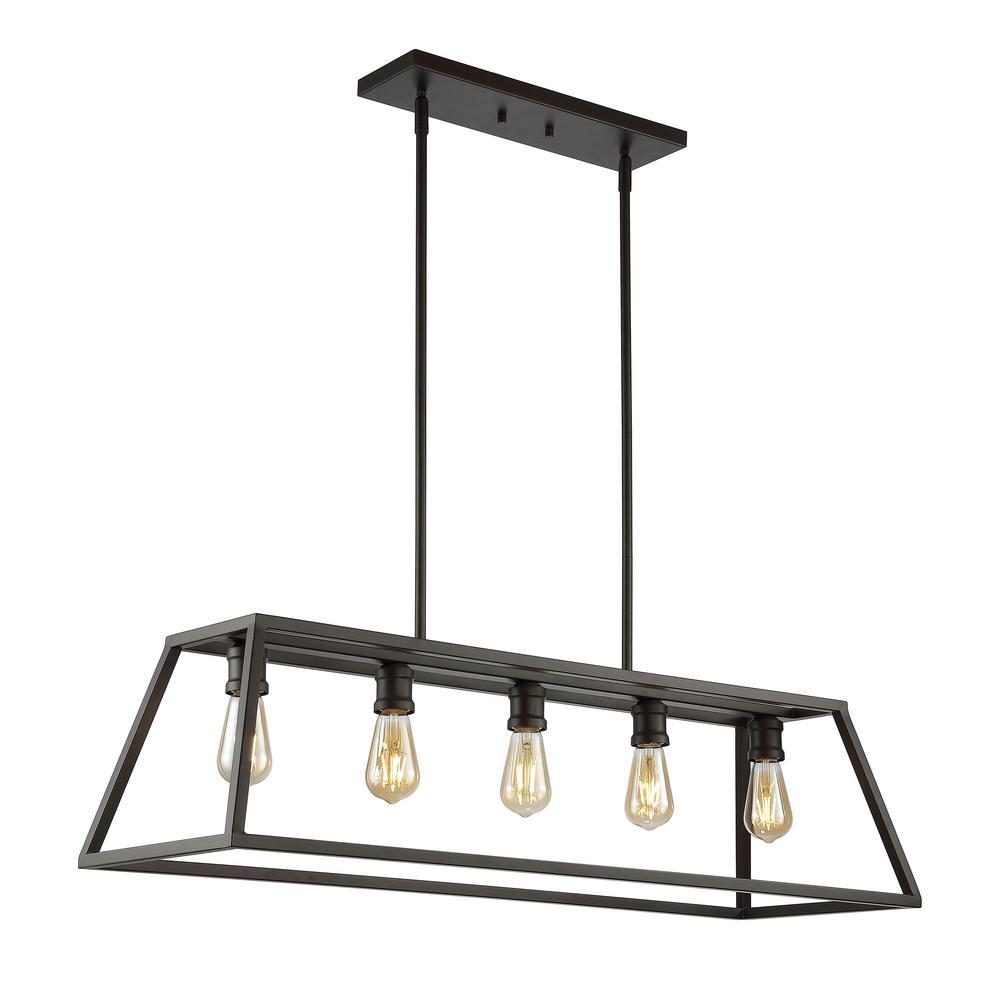 "Floyd 38"" 5-Light Adjustable Iron Farmhouse Vintage LED Dimmable Pendant, Oil Rubbed Bronze"