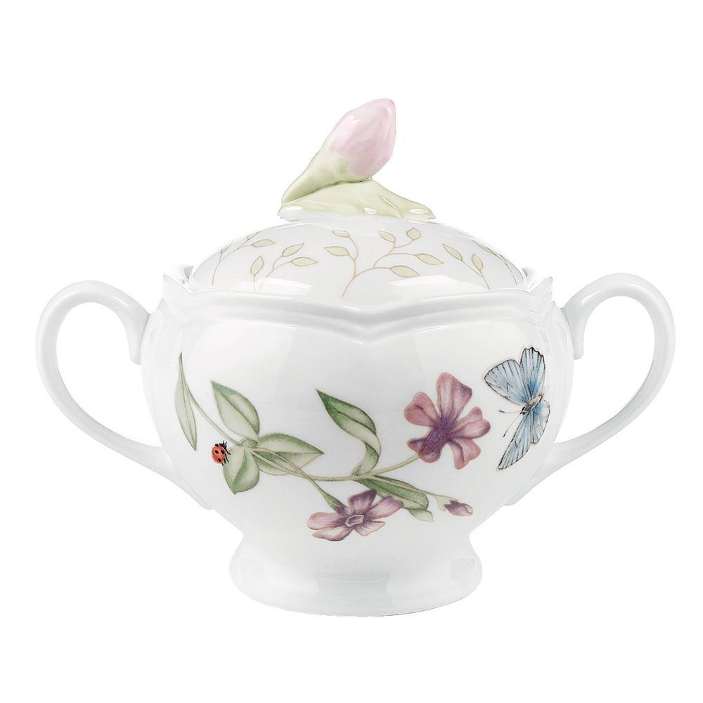 Butterfly Meadow 6 oz. Multi Color Porcelain Sugar Bowl